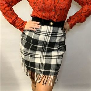 Vintage Express Blanket Plaid Check Fringe Skirt M